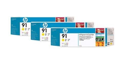 HP Tusz HP 91 yellow 3pack Vivera   3x775ml