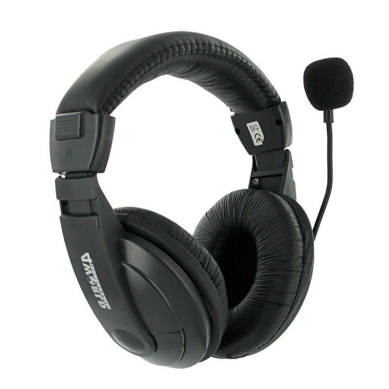 4World Słuchawki stereofoniczne z wygodnymi nausznikami i mikrofonem, 3 m