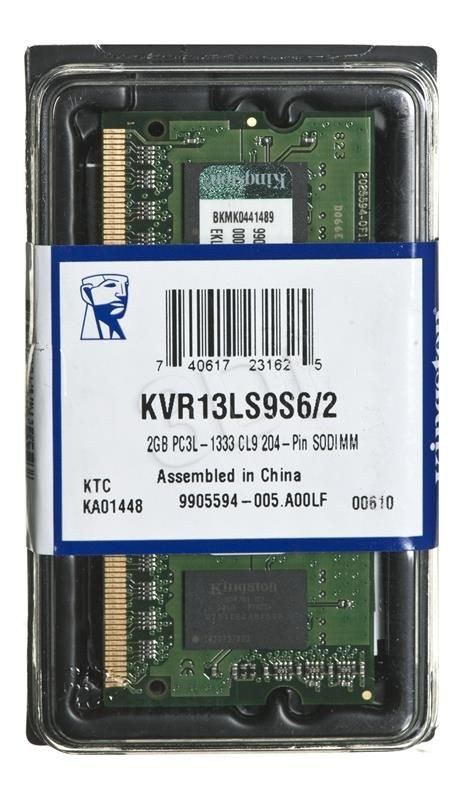 Kingston Moduł pamięci ValueRam/2GB 1333MHz DDR3L CL9 SODIMM