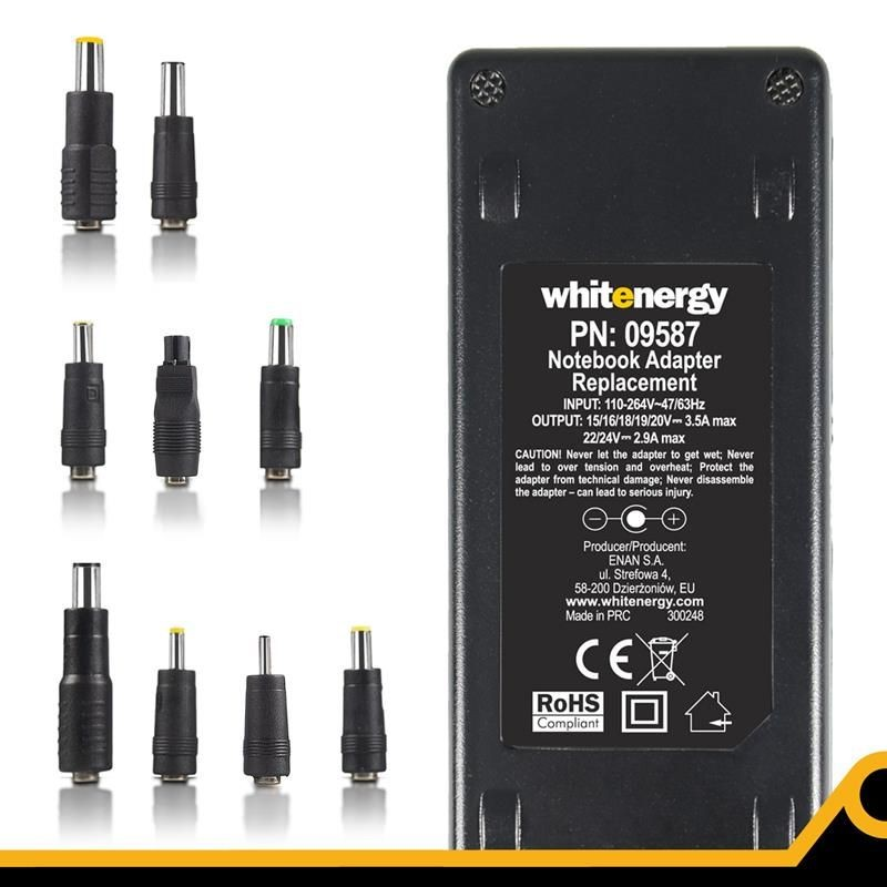 Whitenergy uniwersalny zasilacz sieciowy do notebooka 15-24V, 70W, USB