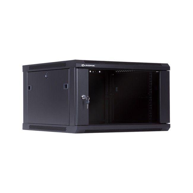 Linkbasic szafa wisząca rack 19'' 6U 600x600mm czarna (drzwi przednie szklane)