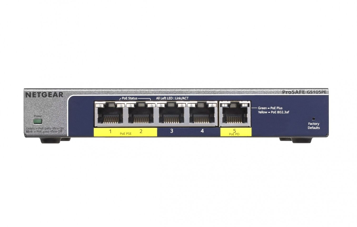Netgear ProSafe Plus 5-Port Gigabit Switch, 2x PoE, 1x PoE PD (GS105PE)