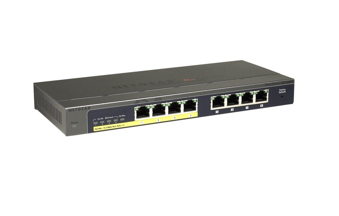 Netgear ProSafe Plus 8-Port Gigabit Switch, 4x PoE (GS108PE v3)