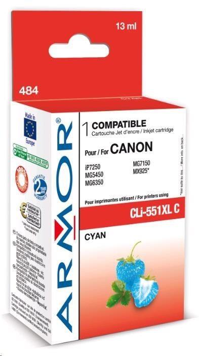 Armor cartridge pro CANON Pixma MG5450, IP7250 (CLi551XLC) Cyan 13ml