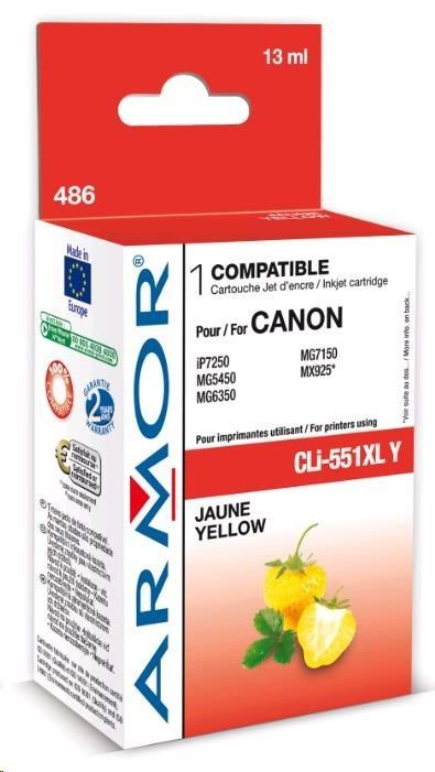 Armor cartridge pro CANON Pixma MG5450, IP7250 (CLi551XLY) Yellow 13ml