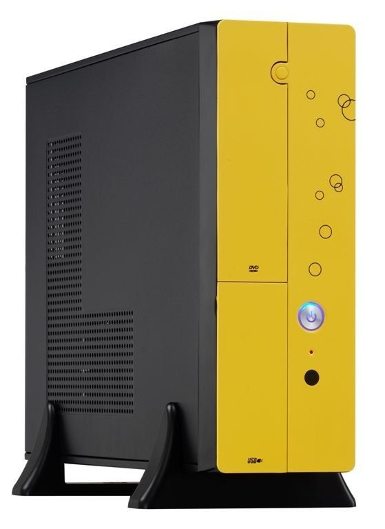 EUROcase skříň MC8107 micro/desktop yellow (2xUSB, HD audio), bez zdroje
