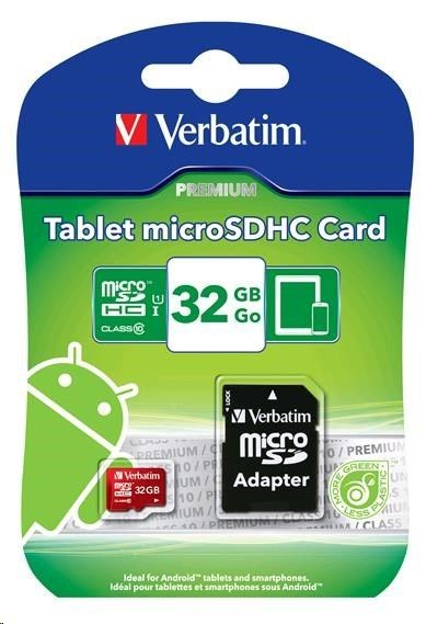 Verbatim Micro SDHC 32GB Class10 UHS-I Red + Adapter