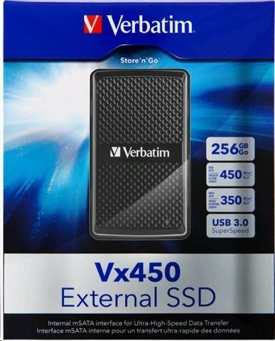 Verbatim HDD externí SSD 256GB Vx450 USB 3.0 external (internal mSATA interface)