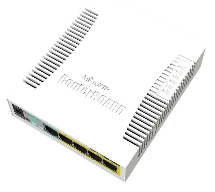 MikroTik RouterBOARD RB260GSP, Taifatech TF470 CPU, výkonný nastavitelný switch, 5x LAN, 1xSFP slot, PoE OUT, vč. SwOS
