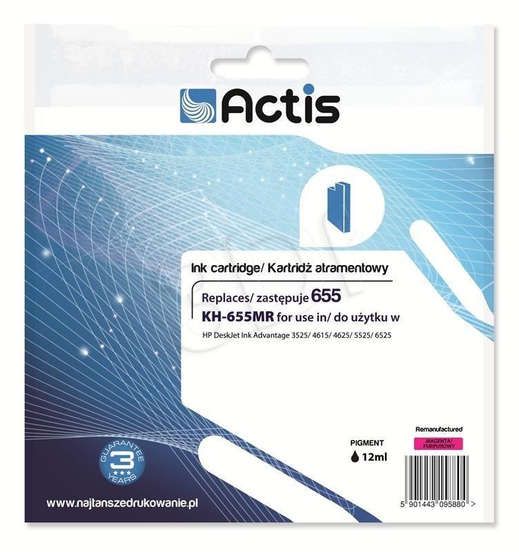 Actis Tusz Actis KH-655MR (do drukarki Hewlett Packard zamiennik HP 655 CZ111AE standard 12ml magenta Chip)