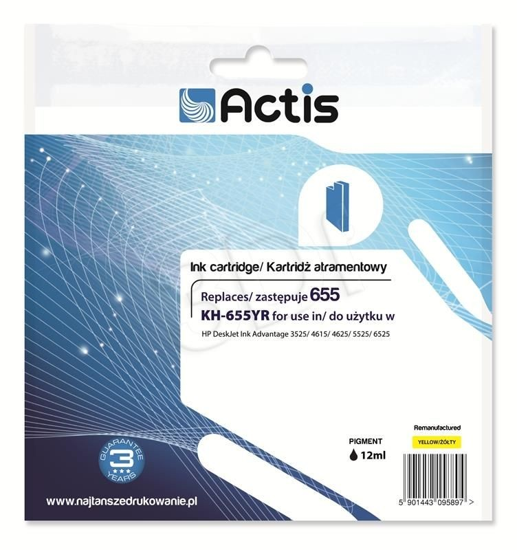 Actis Tusz Actis KH-655YR (do drukarki Hewlett Packard zamiennik HP 655 CZ112AE standard 12ml yellow Chip)
