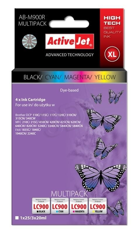 ActiveJet Tusz ActiveJet AB-M900R | Czarny, Cyan, Magenta, Yellow | 25 ml/ 3x20 ml | Broth