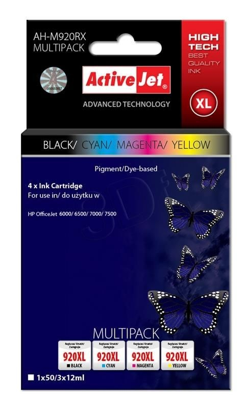 ActiveJet Tusz ActiveJet AH-M920RX | Czarny, Cyan, Magenta, Yellow | 50 ml/ 3x12 ml | HP H