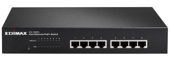 Edimax 8x 10/100 PoE+ switch, 802.3at/af, 80W budget (30W/port)