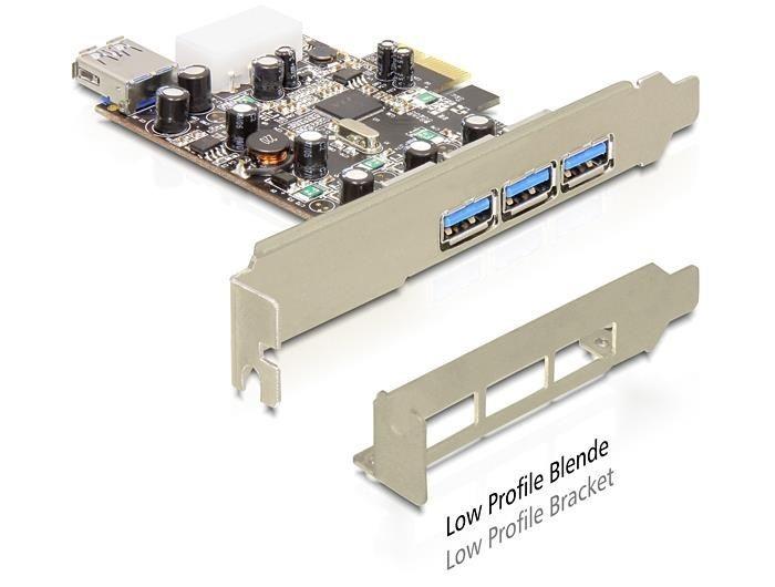 DeLOCK Karta PCI Express > 3 x zewnętrzny + 1 x wewnętrzny USB 3.0