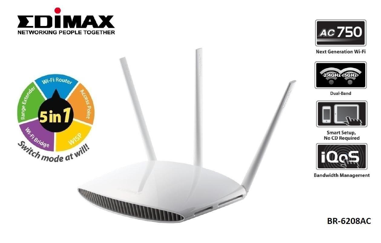 Edimax Router Edimax BR-6208AC WiFi AC750 4xLAN WISP Repeater