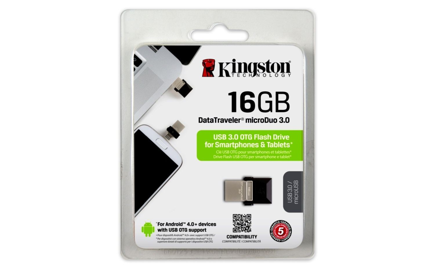 Kingston pamięć USB 16GB DT microDuo USB 3.0 micro&USB OTG