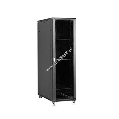 Linkbasic szafa stojąca rack 19'' 42U 600x1200mm czarna (drzwi przednie szklane)