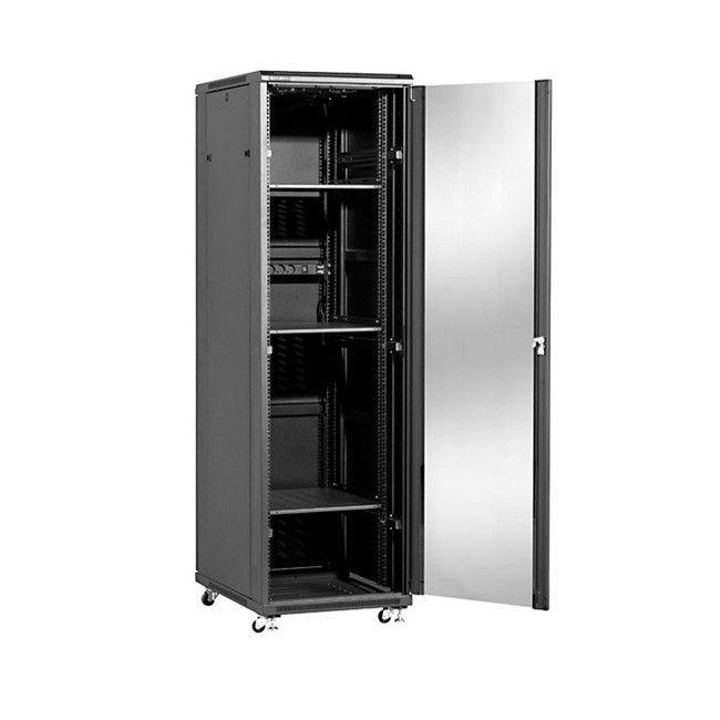 Linkbasic Szafa stojąca 19 42U 600x600mm (drzwi szklane, 2xwent., 3xpolka, 1xlistwa) NCB42-66-BAA-C