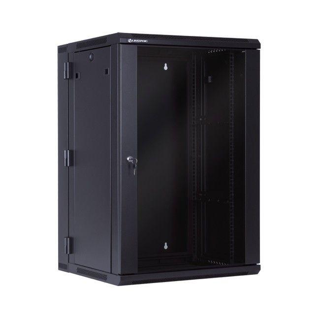 Linkbasic szafa wisząca dwusekcyjna rack 19'' 18U 600x550mm czarna drzwi szklane