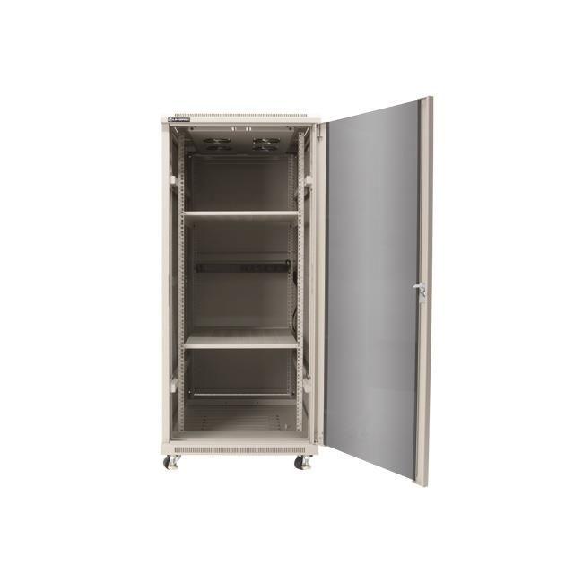 Linkbasic szafa stojąca rack 19'' 27U 600x800mm szara (drzwi przednie szklane)