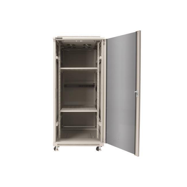 Linkbasic szafa stojąca rack 19'' 27U 600x1000mm szara (drzwi przednie szklane)