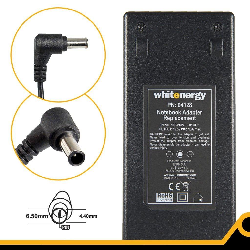 Whitenergy zasilacz 19.5V/5.13A 100W wtyczka 6.5 x 4.4mm + pin Sony