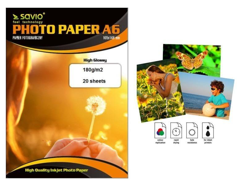 Savio  Papier foto PA-04 A6 180g/m2 50 szt. błysk