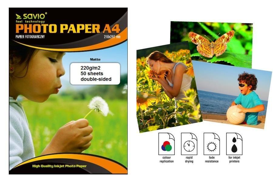 Savio Papier foto PA-10 A4 220g/m2 50 szt. mat dwustronny