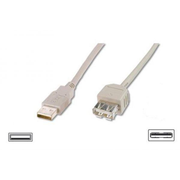 Assmann Kabel przedłużający USB 2.0 HighSpeed Typ USB A/USB A M/Ż szary 1,8m