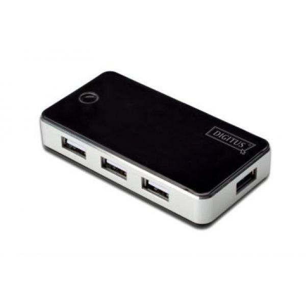 Digitus HUB 7-portowy USB2.0, aktywny, czarny