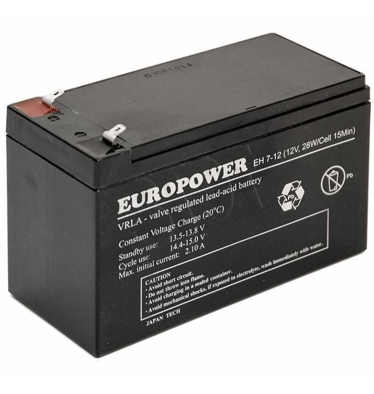 Europower rechargeable battery 12V 7Ah T1