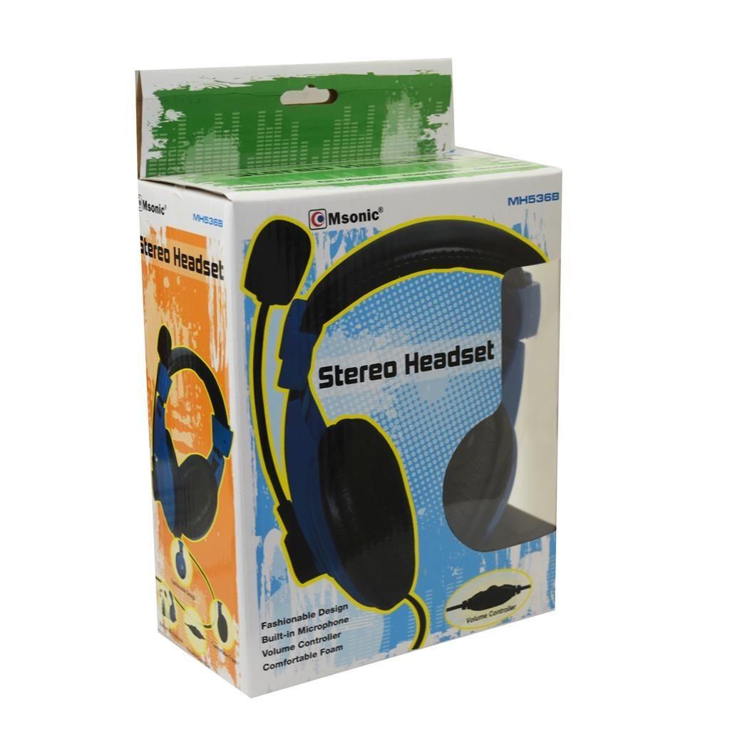 Vakoss MSONIC Słuchawki Nauszne z mikrofonem NIEBIESKIE, regulacja głośności