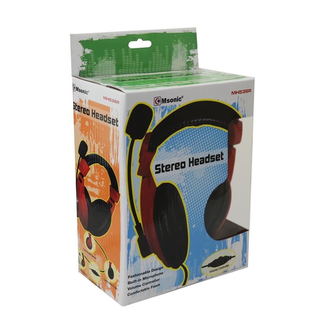 Vakoss MSONIC Słuchawki Nauszne z mikrofonem CZERWONE, regulacja głośności