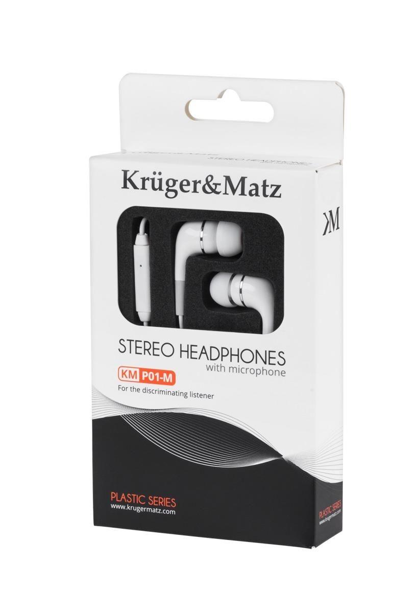 Kruger & Matz Słuchawki z mikrofonem KMP01-M białe