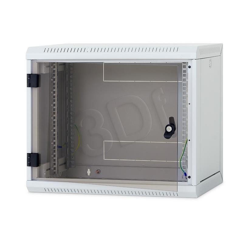 Triton 19 Szafa wisząca jednosekcyjna RUA-06-AS6-CAX-A1 (6U 600mm głębokość przeszklone drzwi kolor jasnoszary RAL7035 demontowalne panele boczne certyfikat IP30 ładowność 30 kg)