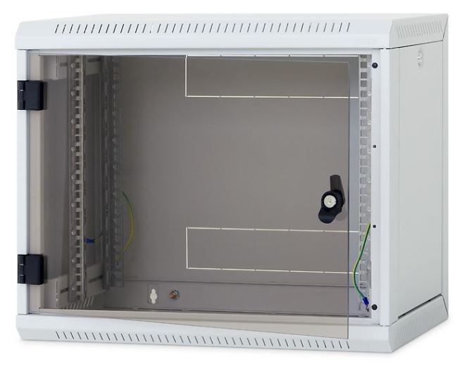 Triton 19 Szafa wisząca jednosekcyjna RUA-06-AS4-CAX-A1 (6U 400mm głębokość przeszklone drzwi kolor jasnoszary RAL7035 demontowalne panele boczne certyfikat IP30 ładowność 30 kg)