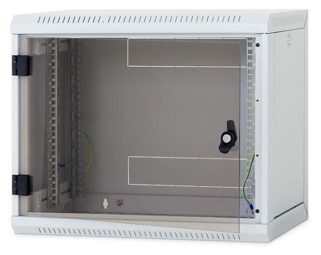 Triton 19 Szafa wisząca jednosekcyjna RUA-09-AS6-CAX-A1 (9U 600mm głębokość przeszklone drzwi kolor jasnoszary RAL7035 demontowalne panele boczne certyfikat IP30 ładowność 30 kg))