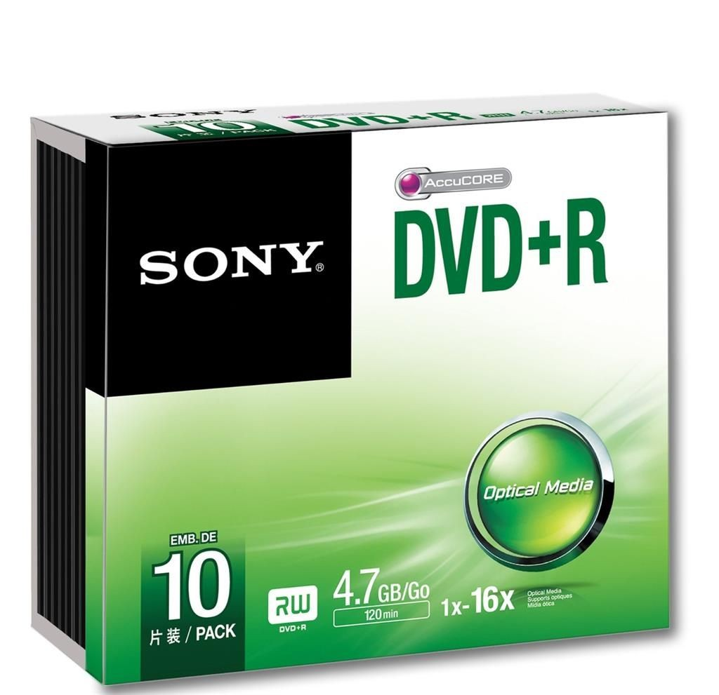 Sony DVD+R 4,7 GB | 16x [Slim Case 10 szt.]