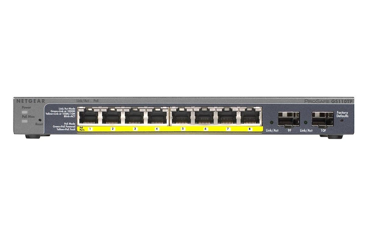 Netgear ProSafe Smart 10-Port Gigabit Switch 8xPoE, 2xSFP (GS110TP v2)