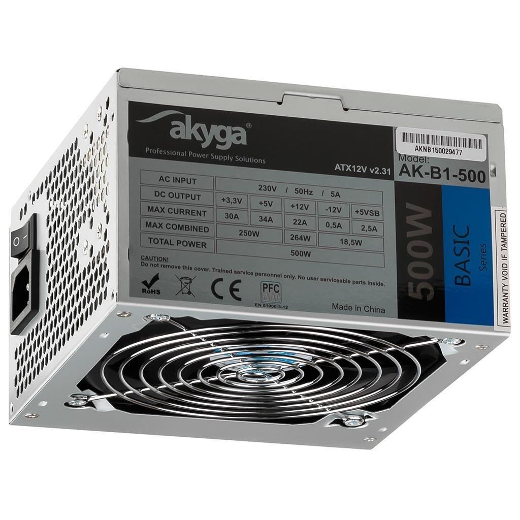 Akyga Zasilacz ATX Basic 500W AK-B1-500 Fan12cm P4 3xSATA PCI-E