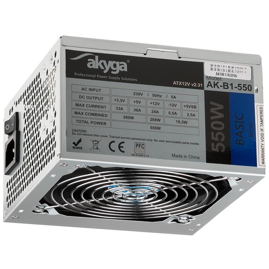 Akyga Zasilacz ATX Basic 550W AK-B1-550 Fan12cm P4 3xSATA PCI-E
