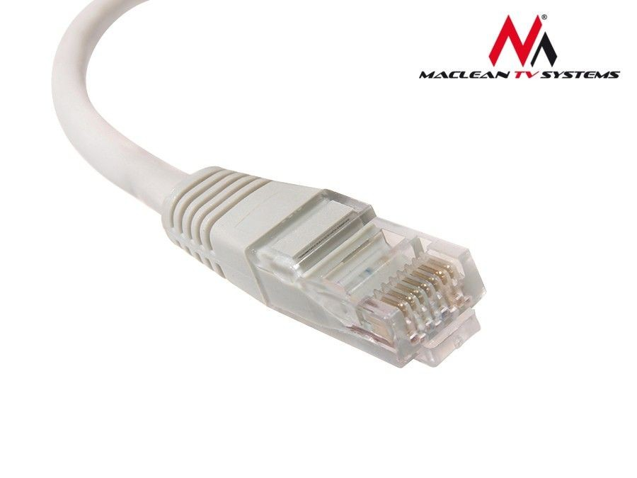Maclean MCTV-649 Przewód, kabel patchcord UTP 5e wtyk-wtyk 1m szary