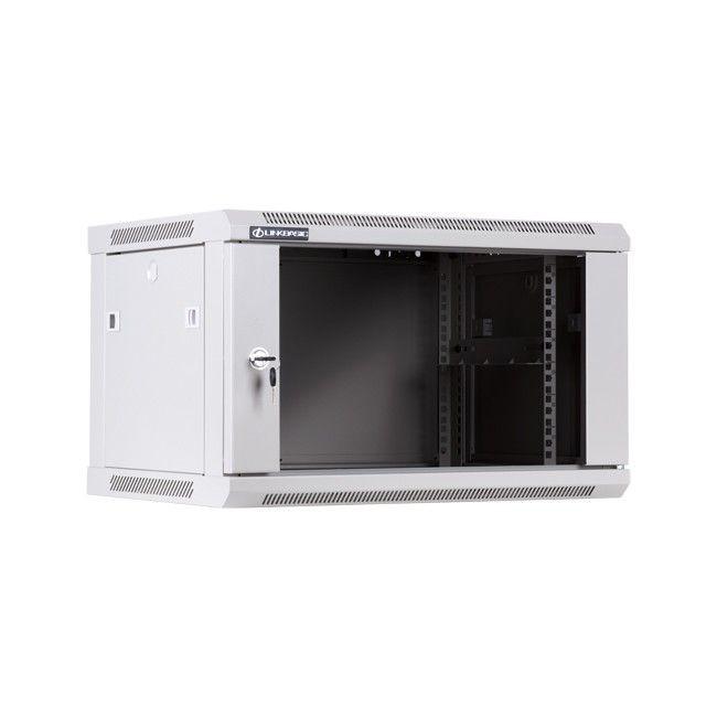 Linkbasic szafa wisząca rack 19'' 6U 600x450mm szara (drzwi przednie szklane)