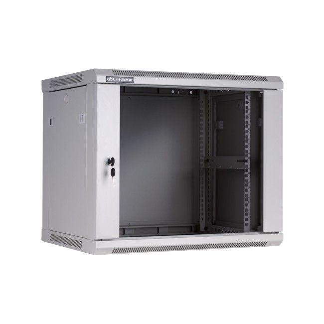 Linkbasic szafa wisząca rack 19'' 9U 600x450mm szara (drzwi przednie szklane)