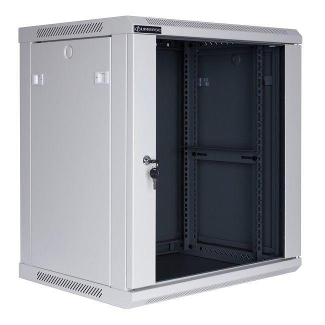 Linkbasic szafa wisząca rack 19'' 12U 600x450mm szara (drzwi przednie szklane)