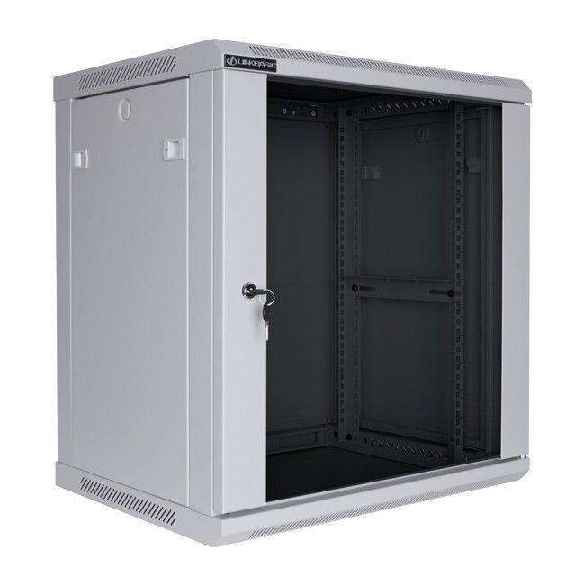 Linkbasic szafa wisząca rack 19'' 12U 600x600mm szara (drzwi przednie szklane)