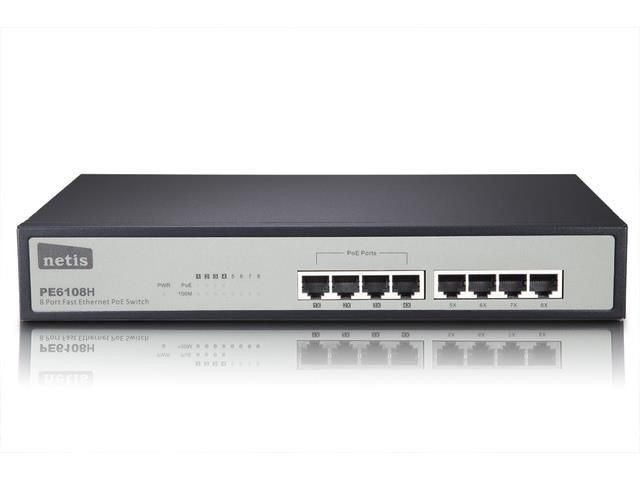 Netis Switch POE 19'' 8-port 100 MB (4 porty POE, 15,4W/Port, max 62W)