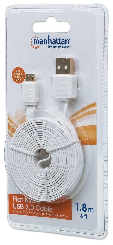 Manhattan Płaski kabel Hi-Speed USB 2.0, A męski na micro-B męski, 1.8m, biały
