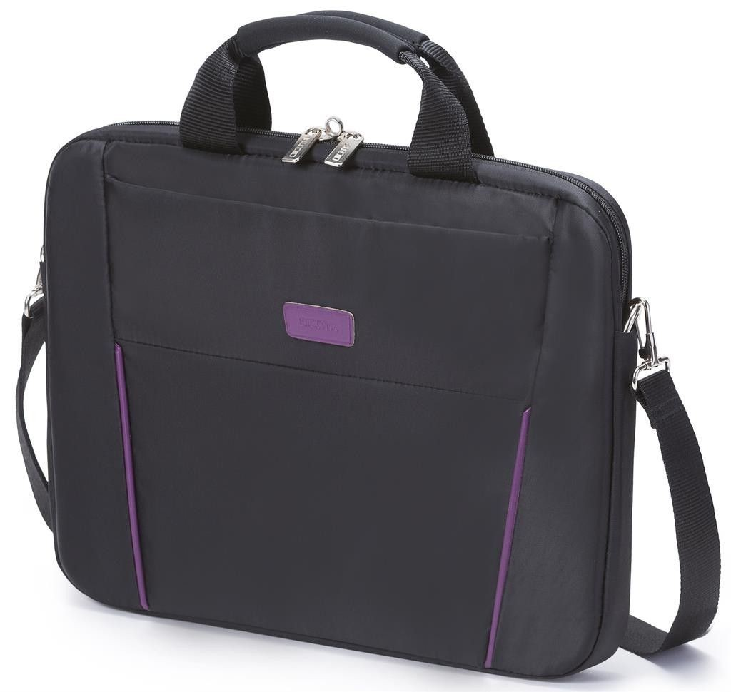 Dicota Slim Case Base 14 - 15.6 black purple czarno fioletowa torba na notebook